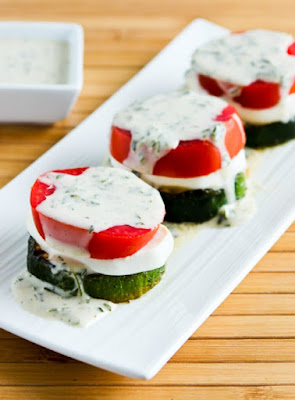 Grilled Zucchini Caprese Stacks from Kalyn's Kitchen featured for Low-Carb Recipe Love on Fridays (8-12-16) found on KalynsKitchen.com