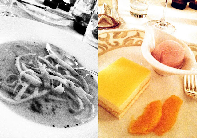 Glanrindsuppe und Orangenmoussetörtchen
