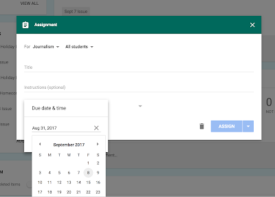 Selecting the due date on an assignment in Google Classroom™  www.traceeorman.com