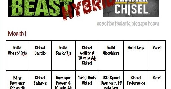 Hammer & Chisel and Insanity Max30 hybrid workout calendar | Work ...