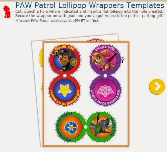 Paw Patrol: Lollipops Free Printable Wrappers.