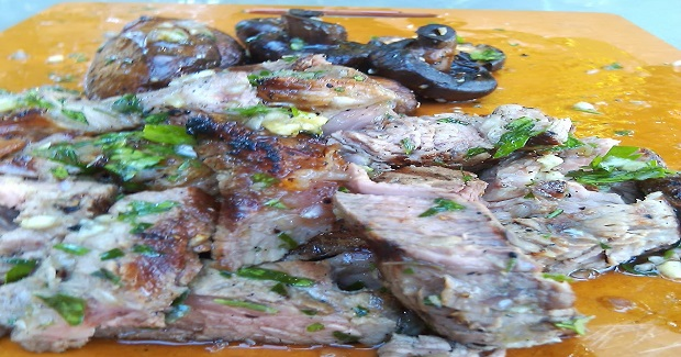 Grilled Steak And Creminis With Board Sauce Recipe