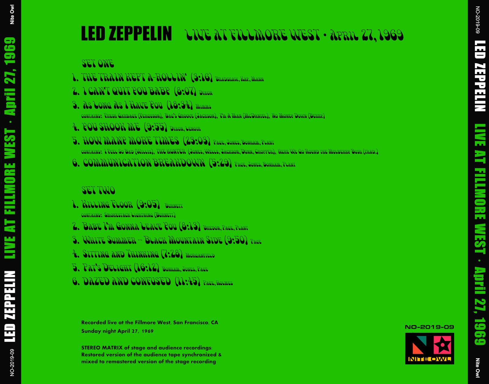 led zeppelin live at fillmore west april 27 1969