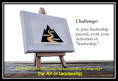 "easel with Wildland Fire Leadership Development Program logo - Challenge #3: In your leadership journal, write your definition of ""leadership."""