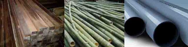 Kayu, bambu dan pipa