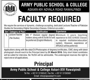 Faculty Jobs in Army Public School & College Rawalpindi