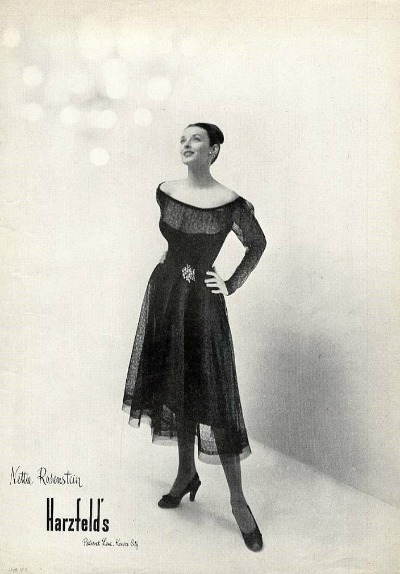 Harzfeld's ad from 1950s featuring model wearing Nettie Rubenstein dress