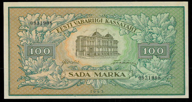 Banknotes of Estonia 100 Marka money currency images