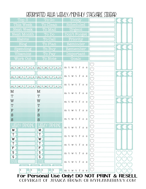 Free Printable Reformatted Weekly/Monthly Stackable Sidebar in Aqua from myplannerenvy.com