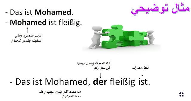 مثال توضيحي على الأسماء الموصولة في الألمانية  an example of Relativpronomen