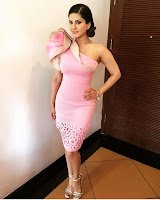 Sunny Leone looks beautiful at MTV Splitsvilla Shoot in a Pink Ruffled Dress by Vidhi Wadhwani