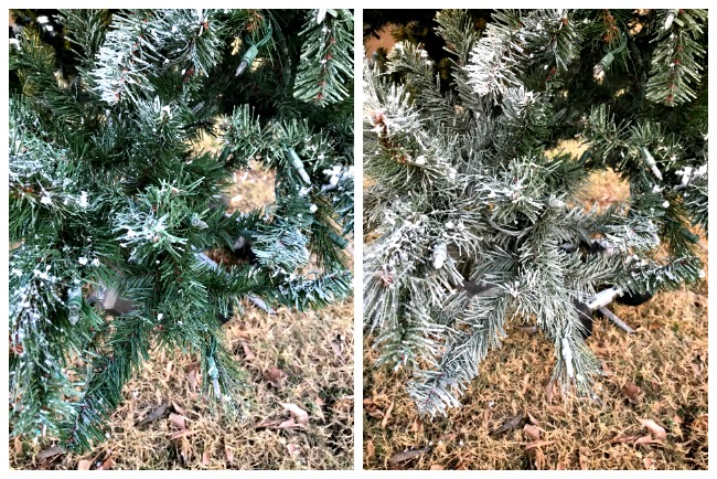 snow blower spray diy flocked christmas tree
