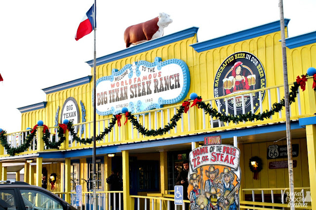 The Big Texan, an iconic Texas-style steakhouse, first opened in 1960 along the historic Route 66. When the new interstate was built in the 1970's, the Lee family made the decision to relocate the bigger than life restaurant alongside I-40.