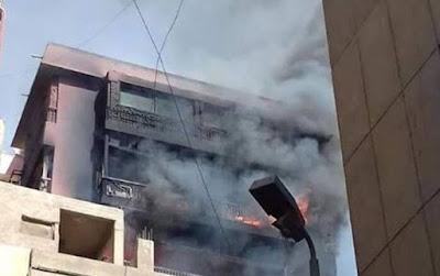 بالصور حريق مستشفي الحسين الجامعي السبب فى حدوث الحريق
