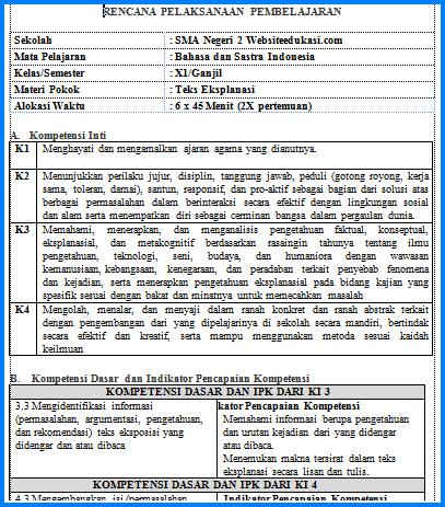 rpp bahasa indonesia kelas 11