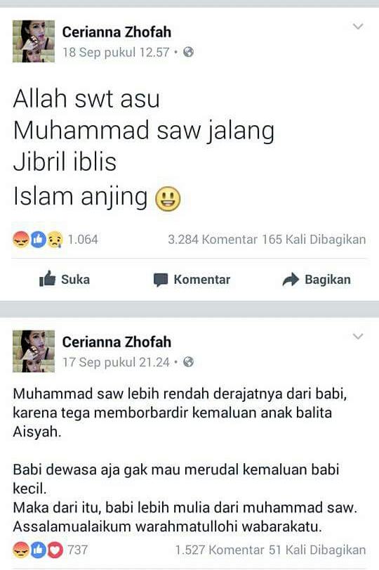 Islam yang terpecah, penista meraja lela