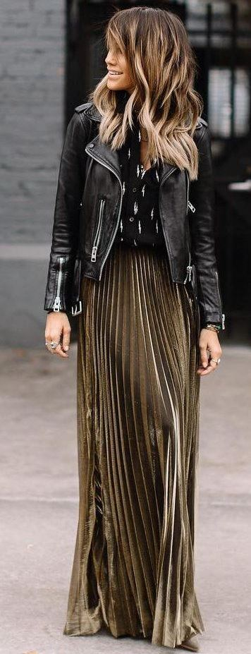 fashionable outfit idea / gold maxi skirt : leather jacket + top