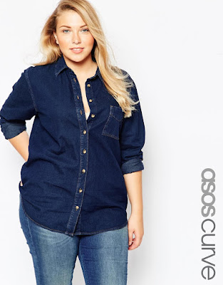 ASOS Curve Denim Shirt in Raw Indigo