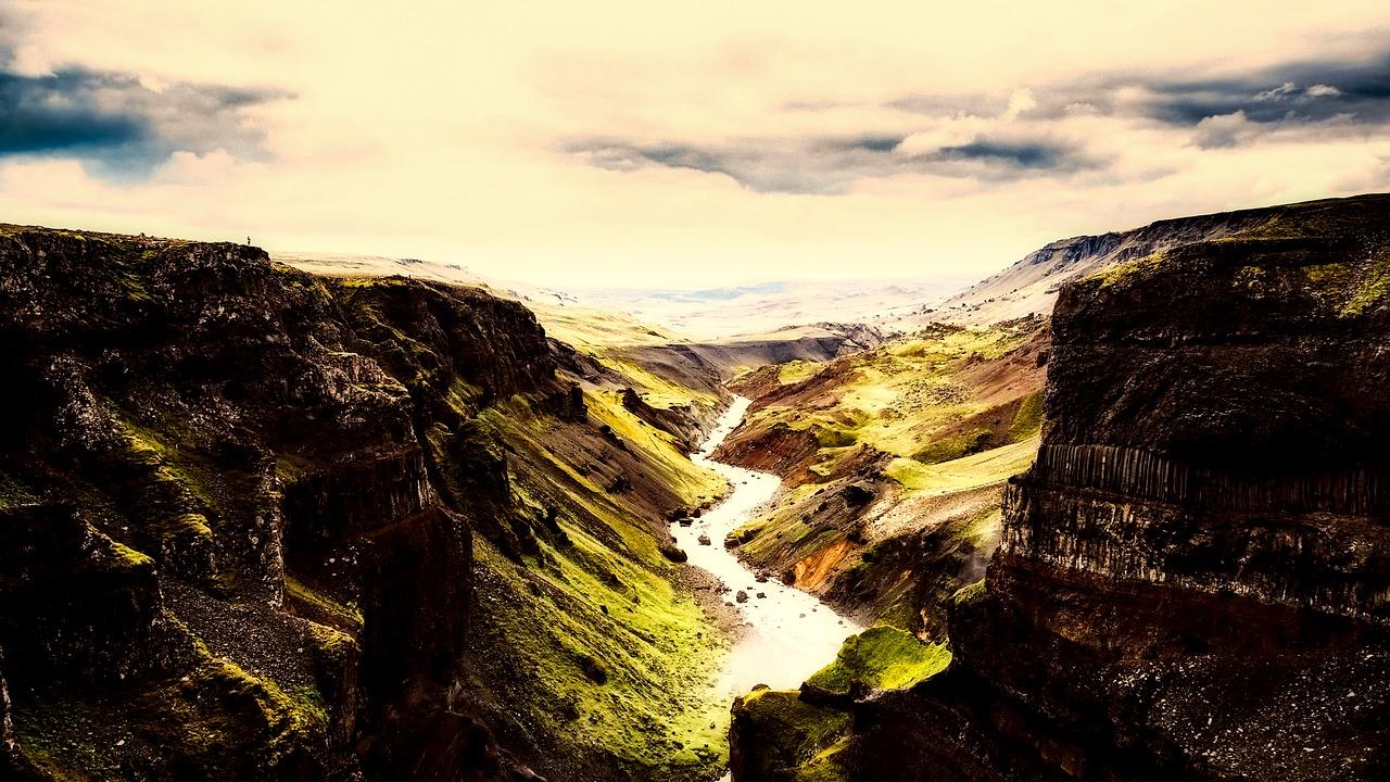 Gorgeous mountain, gorge, ravine landscape of Iceland