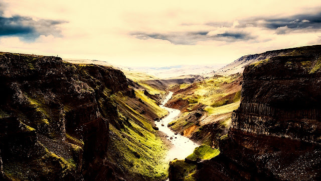 Gorgeous mountain, gorge, ravine landscape of Iceland