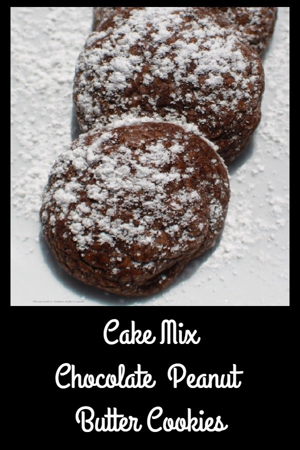 These are a chocolate peanut butter easy cookie made with peanut butter with powdered sugar on top on a white plate a semi homemade recipe with simple ingredients