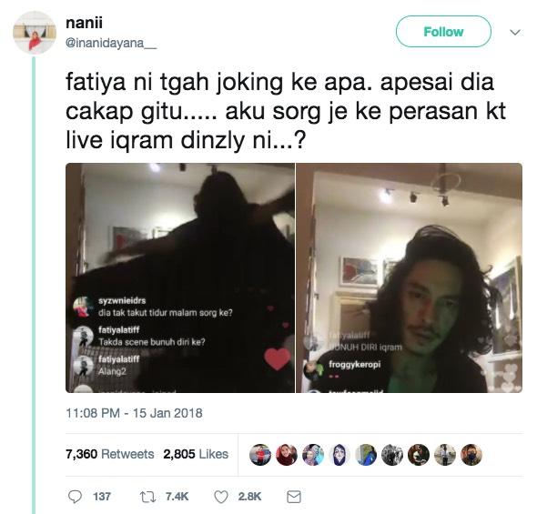 Fathia Latiff Dikecam Gara-Gara Minta Iqram Dinzly Bunuh Diri Secara Live