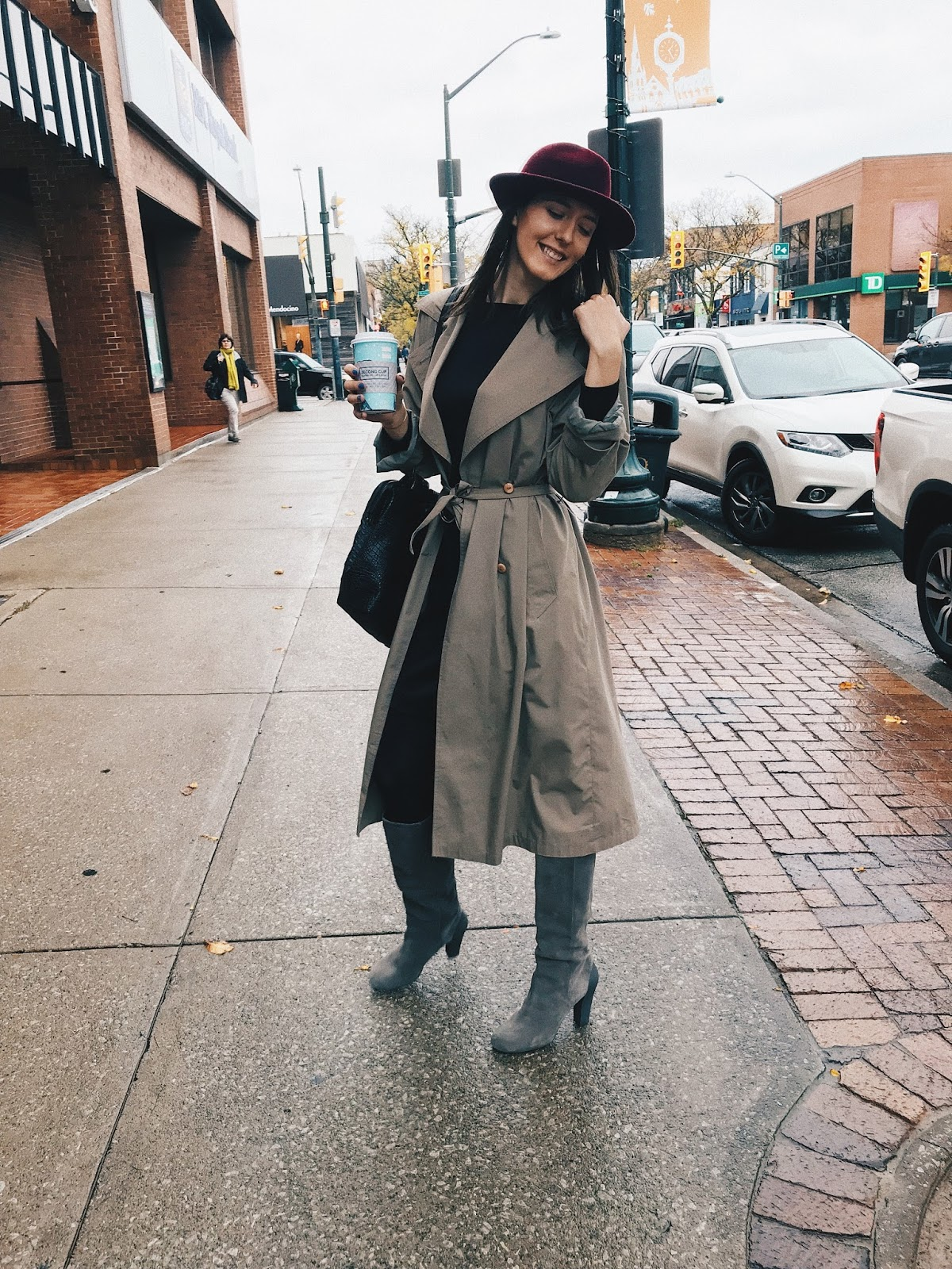 Trench Coat and Red Hat