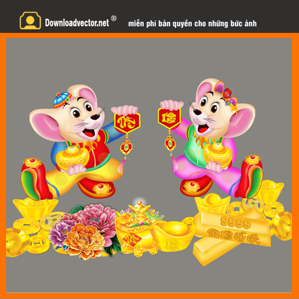 Cặp chuột vàng chúc tết