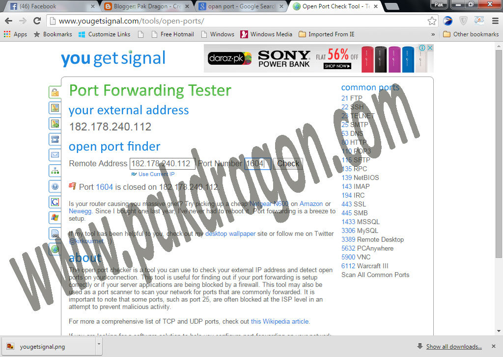 Open Port Tool - Pak Dragon