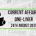 Current Affairs One-Liner: 24th August 2019