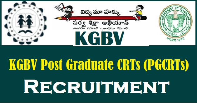TS KGBV notification 2018, 1050 posts pgcrt recruitment application form