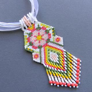купить украшения из бисера бисероплетение кулон кирпичное плетение мозаика