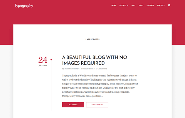 Typography - Text Based Minimal Blogger Template