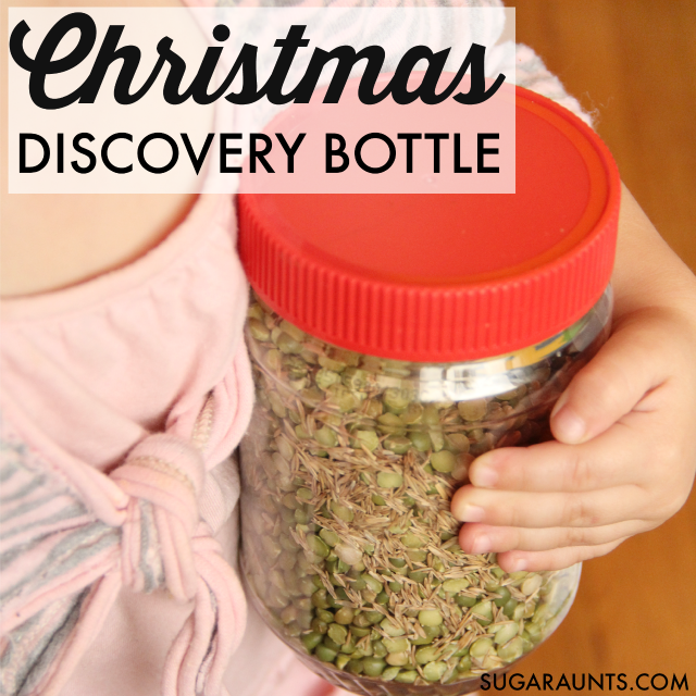 Kids can calm their feeling of holiday overwhelm by relaxing with a Christmas themed sensory discovery bottle, while looking for shapes in their environment. Great learning tool for preschoolers!