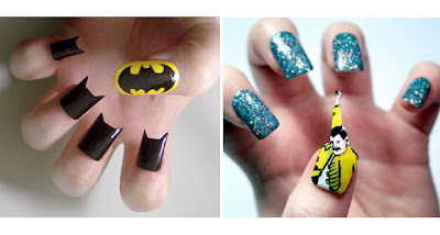Batman and freddy mercury nail designs