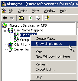 Connecting to a share on linux via windows 2003 (sp1) nfs client.