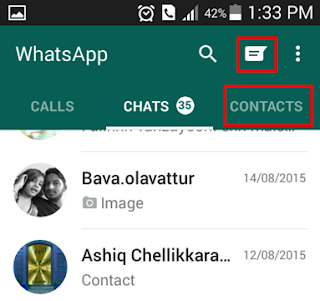Taking contacts on whatsapp