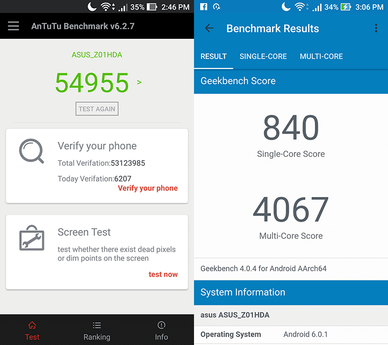 Antutu and Geekbench benchmarks results