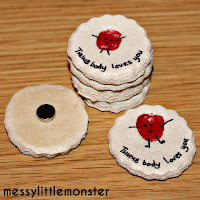 valentines day craft ideas for kids:  thumb body loves you salt dough magnets