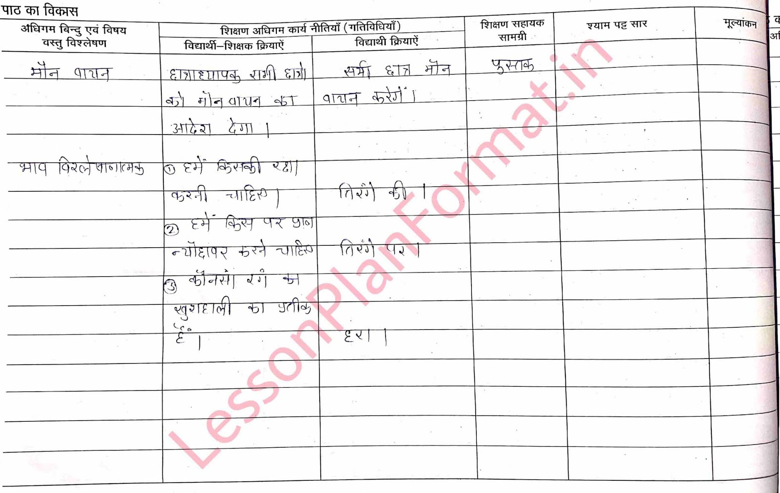 Class 2 Hindi Lesson Plan Tiranga