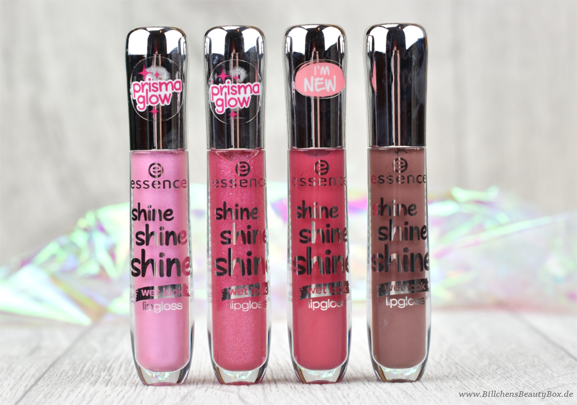 essence - shine shine shine Lipgloss - smile, sparkle, shine - friends of glamour - flirt alert - so into it