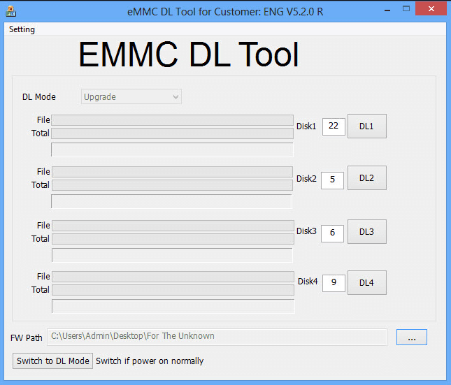 Download eMMC DL Tool for Customer ENG V5.2.0R