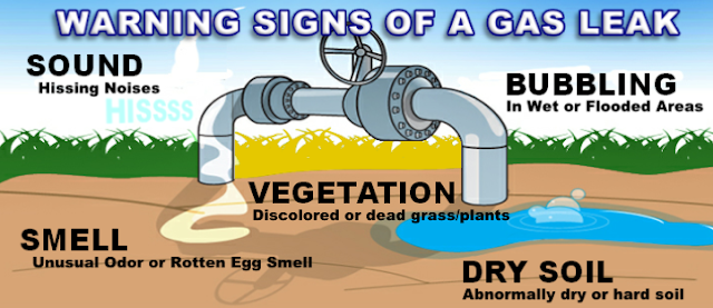 Graphic shows a gas pipe in the yard. Text says SOUND hissing noises. BUBBLING in wet or flooded areas. VEGETATION discolored or dead grass/plants. DRY SOIL abnormally dry or hard soil. SMELL unusual odor or rotten egg smell.