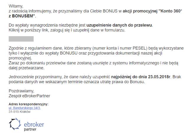 Mail do uczestników promocji Konto 360 w Banku Millennium z bonusem 150 zł