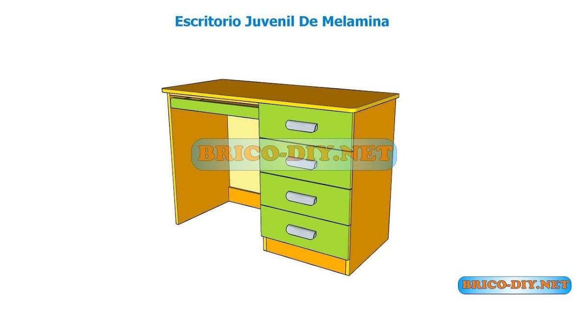 Como hacer un escritorio juvenil planos con medidas para Curso para fabricar muebles de melamina