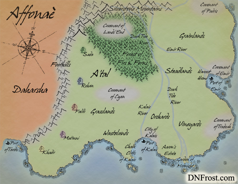 A'tal and Daharsha of Affonaè, a map commission by D.N.Frost for Morgyn Star http://DNFrost.com/portfolio