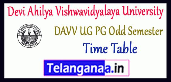 DAVV Devi Ahilya Vishwavidyalaya University Indore UG PG Odd Semester Exam Time Table