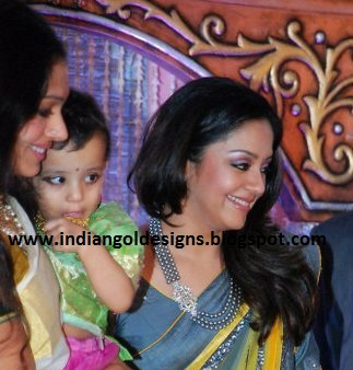 Gold And Diamond Jewellery Designs Jyothika In Layered Beads