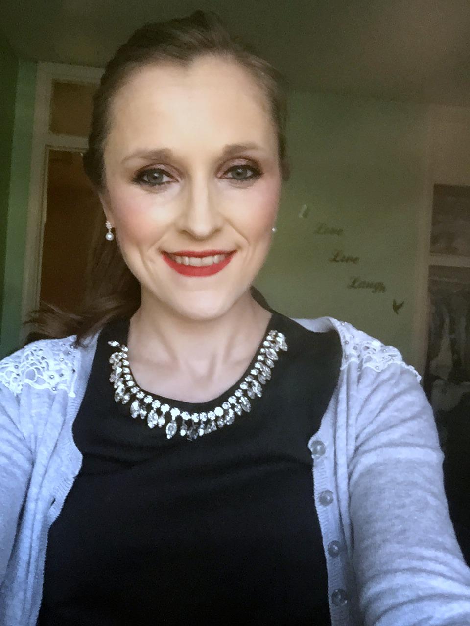 wearing makeup revolution retro luxe lip kits in regal