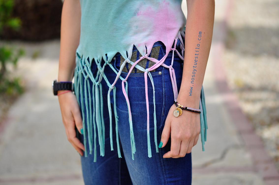 c208b7a284e4e DIY - Cómo customizar camiseta  Top con trenza y flecos (estilo  californiano)
